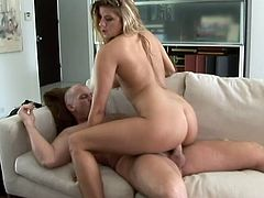Sexy blonde Monica Sweetheart pleases some dude with a deepthroat blowjob. Then she sits down on the man's schlong and they have sex in cowgirl and other positions.