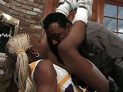 Isis is a sexy blonde ebony cheerleader. She cheers this guy as he fucks her pussy and her ass hole.