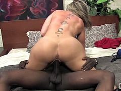 Sara is a horny white MILF that has a hunger for black cock that she satisfies by swallowing then riding this guy's huge cock.