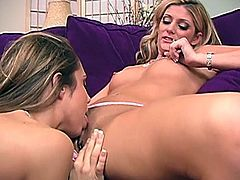 Two awesome fair-haired girls are having lesbian fun indoors. They eat and finger each other's smooth pussies and then pound them with a realistic dildo.