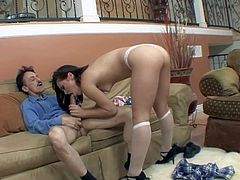 Adorable inexperienced and naive looking schoolgirl Kristina Rose in short sexy skirt and white lace undies gets sweet firm ass licked by filthy step daddy and rides on his cock.