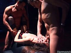 Get a load of this hardcore scene where the sexy cock thirsty Sasha Grey is fucked silly by guys in a wild threesome.