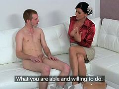 This horny female agent called over a total stranger. She was surprised when he pulled out his meaty cock and sticked it ballsdeep into her tight trimmed pussy.