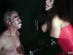 Mistress Carly brings you a hell of a free porn video where you can see how an old slave gets viciously tortured by Mistress Carly til she's fully pleased with his suffering.
