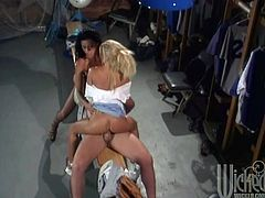 These outstanding babes are seducing their friend in locker room and and gives him their curly bodies to fuck hard. These chicks loves to share sperm.