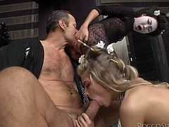 Rocco Siffredi is playing dirty games with Cayenne Klein and Nicoline indoors. The skanks please the stud with a terrific blowjob and then get their butts unforgettably pounded.