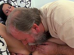 Small tits Tonia goes nasty along her boyfriend and horny old dad