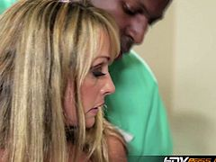 Shayla LaVeaux's husband is all paralyzed and can only watch her fucking the black doctor. His big chocolate stick slides easily into her horny pussy like a champ.