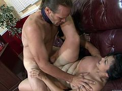 Chubby Mika Tan gets her mouth and cunt fucked deep and hard