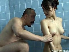 There's some action taking place in this bathroom! The older man is not only taking care that his girl is squeaky clean, he wants to fuck her too! After the guy washed her hairy pussy and played with it they go in the bathtub where more kinky action takes place. Want to see some more? Then stick with us!