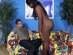 Skyler Nicole is a hot ebony chick who uses her skilled hands to jerk a white guy's cock off. She knows all sorts of special techniques to make this guy cum.