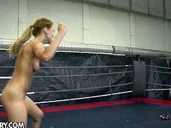 Henessy and Nikky Thorne participate in a nude fighting match that ends up in a hot pussy fingering session.