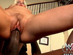 Light haired bombshell Annika Albright is surprised by her partner's huge black cock. Big ass babe treats that BBC with blowjob, rides that black meat pole on top and gets her white cooch plowed doggystyle.