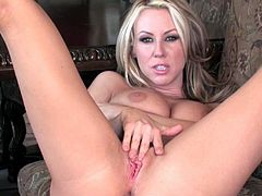 Voluptuous mom is needy to stroke her fine cunt with one massive toy cock