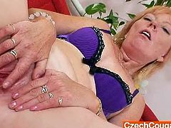 Watch this sexy blonde Czech amateur milf Polarka in this hot solo video, where you will see her stripping her clothes and showing  you her shaved old pussy which she fingers hard.Enjoy this blonde in her nasty solo.