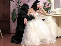See this monster mom as she fucks this bride to be in this tube video.