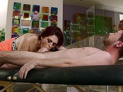 Mom Jen saw Dane all tensed so she grabbed him by the hand and offered the guy a massage. Because she's such a god mommy, she wanted to do more for him in order to relax the dude so she sensually opened her mouth and swallowed Dane's cock. Damn, look at her what a skilled head she's giving.
