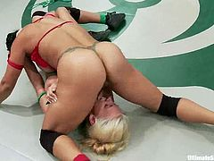 Two teams fight in a ring. The girls from the losing team get their pussies fingered and toyed. Watch and enjoy this amazing lesbian orgy.