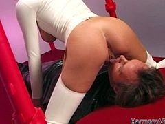 Watch this hot and sexy babe in her weird costume sucking that large cock of hernew friend in Harmony Vision sex clips.