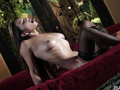 Get a boner watching this brunette, with big natural knockers wearing black stockings, while she gets her sweet meaty wallet banged in a glamorous clip.