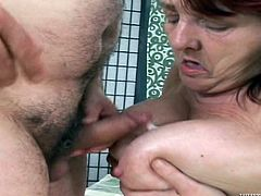 Slutty mature brunette Ivona is having fun with a guy claled Faun. The fattie gives a blowjob to the dude and then they have sex in side-by-side position.