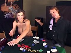 Big tittied Sara Stone plays strip poker. She loses the games, so she gives a blowjob to the winner. After that she gets fucked deep in her smooth pussy.