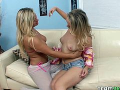 Nipple pierced big boobs blond slutty wench passionately kisses and greedily licks hot blooded kitty of her fuck starving pervert girlie. Watch this hot blooded lesbians in Team Skeet porn video!