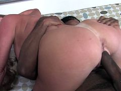 Busty white cougar getting a good hard interracial fucking and then a big messy cumshot. She looks good getting a good hard pounding.