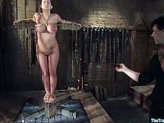 This amazing and sizzling siren Trina Michaels is having a great time! She gets nailed in her wet pussy and sucks a cock after giving her tits bondaged and even chained!