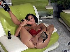 Make sure you have a look at this hot solo scene where the horny brunette Joan Mueur pushes a big dildo before you see her fisting her asshole.