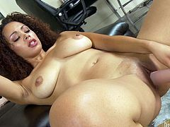 Serena Ali enjoys toying her pussy with an oversized dildo