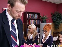 Danica Dillan is a naughty teacher who teaches her students all about sex with dildos. Erik Everhard, the school's principal catches her and becomes enraged. She calms him down by asking him to fuck all her holes.