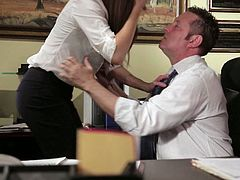 Watch the hot and alluring brunette milf Samantha as she sucks and rides her boss' cock on his desk!