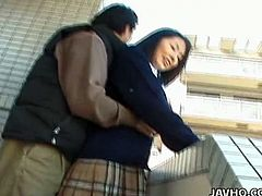 Beautiful Japanese girl is having some nice time in a bathroom with her man. She shows her tits and pussy to the dude to turn him on and then kneels in front of him and drives him crazy with a great blowjob.