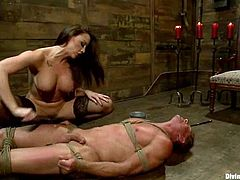 That's what happens, when men let woman dominate! Smoking hot Chanel Preston ties Troy Halston up and makes him feel so fucked up!