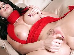 Emily Addison with big hooters and trimmed muff does striptease before playing with her beaver