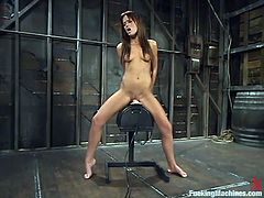 Beautiful long-haired brunette Holly Wellin is having a good time with a fucking machine. She takes it into her juicy vag and tight ass and gets her holes pounded like never before.