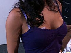 Provocative porn slag Asa Akira has on an affair at work. She poses in front of her boss demonstrating her sexy body. She also gets her tits kneaded and suckled intensively. The action takes place right in the office. Check out this steamy office sex video brought to you by Brazzers Network.