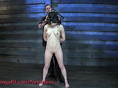 With her face covered in a black masked, naked slave Chanel made to crawl while she's being hit with a leather whip in her back and butt cheek by Mad. Her pussy then get please with mistress Gianna Michaels fingers and fist.