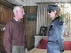 Horny MILF in police uniform and sunglasses sits on old man's face. Then she lies down on a bed and gets fucked rough. This old dude still is in good physical conditions.