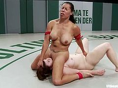 Bella Rossi and Izamar Gutierrez are having a wrestling match on tatami. The lesbians beat each other and then the loser gets her twat pounded with a dildo.