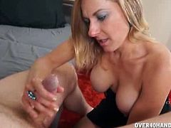It takes a little convincing, but Madison Paige finally takes her step son's pants off and starts jerking off his cock. She is not sexually satisfied by her husband.
