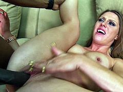 Charming milf Scarlett Wild pleases a horny black man with a great blowjob. Then she moves her legs wide apart and gets her shaved cunt drilled in missionary and cowgirl positions.