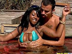 Click to see this ebony lady, with a great black ass wearing a sky blue bikini, while she gets her pussy licked! Bunny jumps on dicks like a fucking bunny!