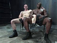Diesel Washington and Park Wiley have wild anal sex in gay BDSM video. Black guy sucks a dick and then fucks White dude in the ass.