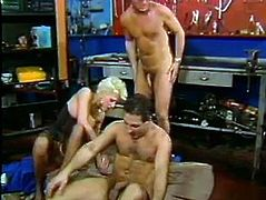 Hot like fire blond head busty bitch gets double team fucked