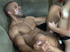 Jodi Taylor enjoys pounding a handsome black dude's ass with a toy