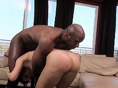 Witness this reality video where a brunette, with a nice ass wearing a fishnet outfit, gets fucked by a big black dude. She loves playing with big toys!