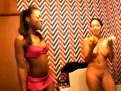 Beautiful ebony girl in solo show. She takes lingerie off to demonstrate her juicy tits and amazing booty.