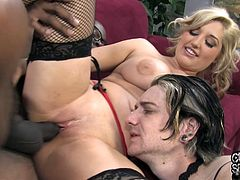 Amazingly hot Dayna Vendetta gives a blowjob to Black guy in front of her poor husband. This busty chick lies down on a sofa and gets fucked like never before.